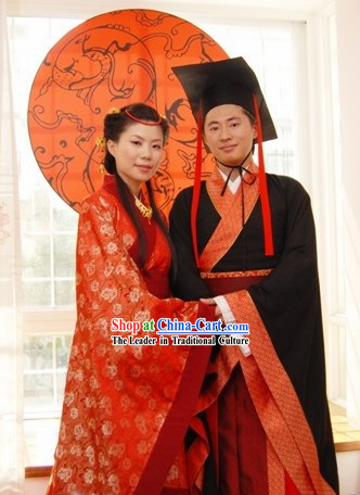 Ancient Chinese Han Dynasty Wedding Attire 2 Sets for Men and Women