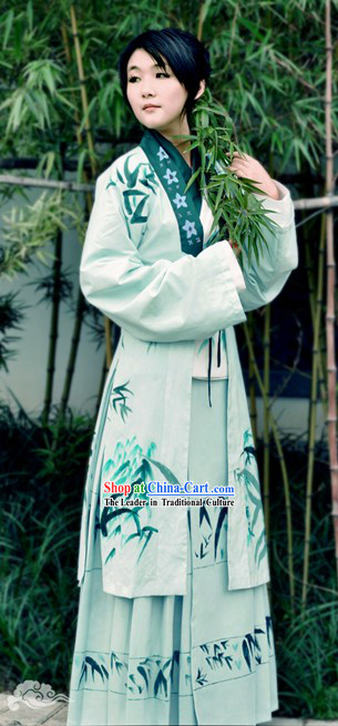 Ancient Chinese Hand Painted Bamboo Dress for Women