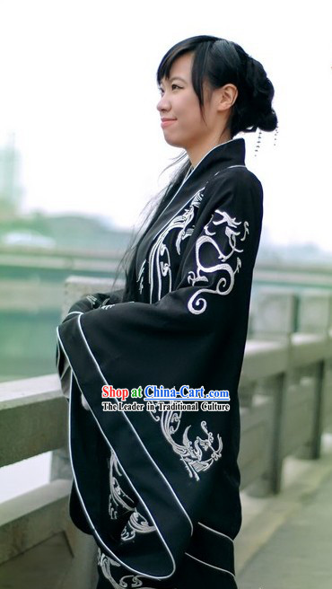 Traditional Chinese Hanfu Black Clothing for Both Men and Women