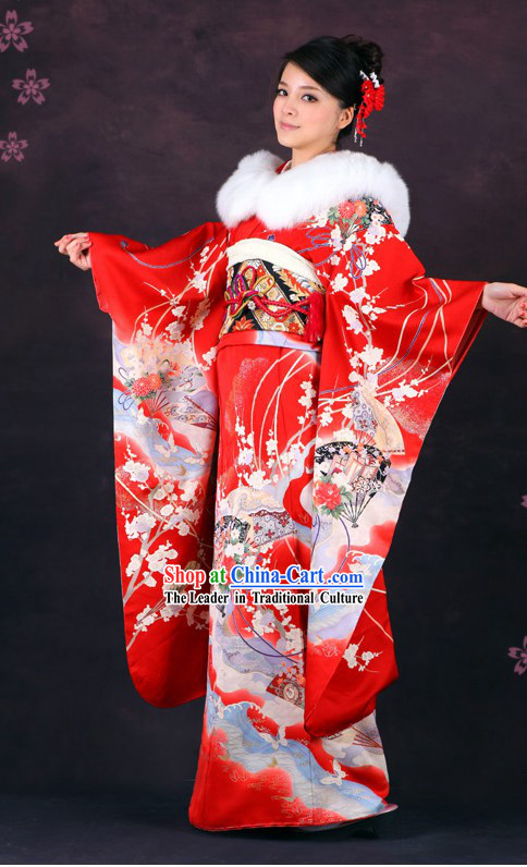 Traditional Japanese Formal Female Kimono 16 Pieces Set