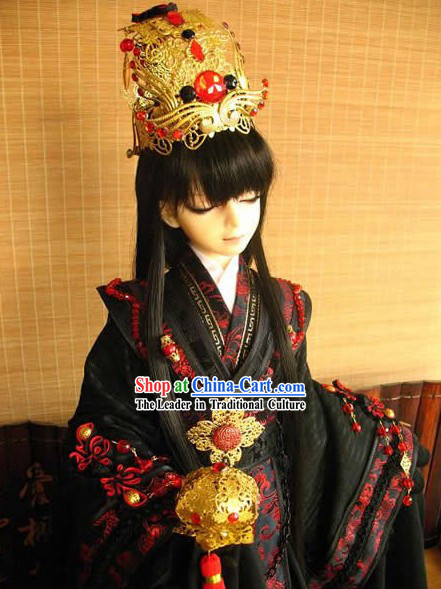 Ancient Chinese Palace Prince Costume and Headpiece