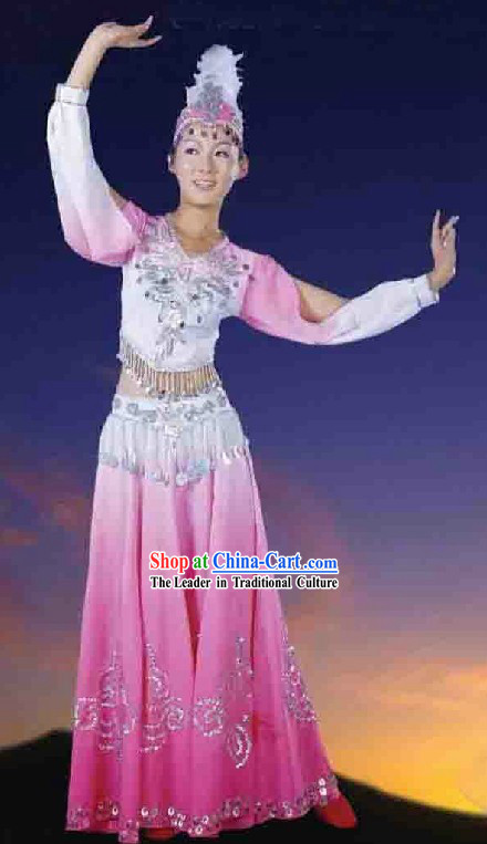 Chinese Xinjiang Uyghur Minority Pink Female Dance Costume and Hat