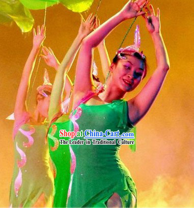 Green Lotus Stage Performance Dance Costume and Headpiece for Women