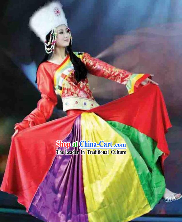 Chinese Tibetan Nationality Costume and Hat for Women