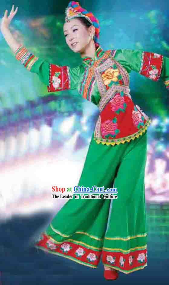 Chinese Yi Minority Ethnic Dance Costume for Women
