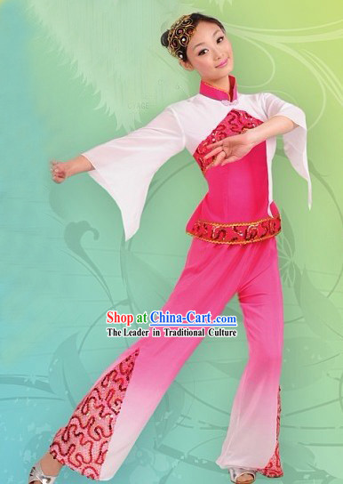 Chinese Pink Folk Dance Costume and Headpiece for Women