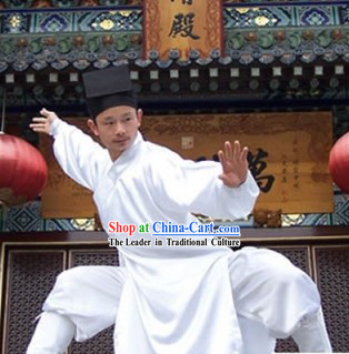Chinese Daoist Priest Teacher Clothing and Headpiece