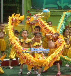 Yellow Beijing Dragon Dance Costumes Complete Set for Six Kindergarten Children
