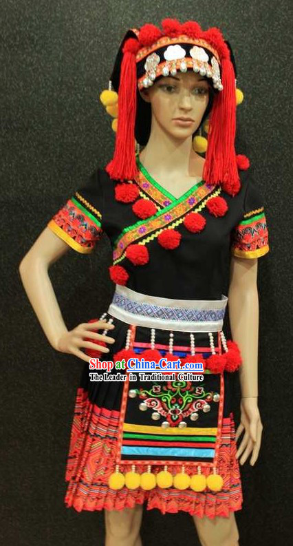 Traditional Chinese Minority Dance Costumes and Hat