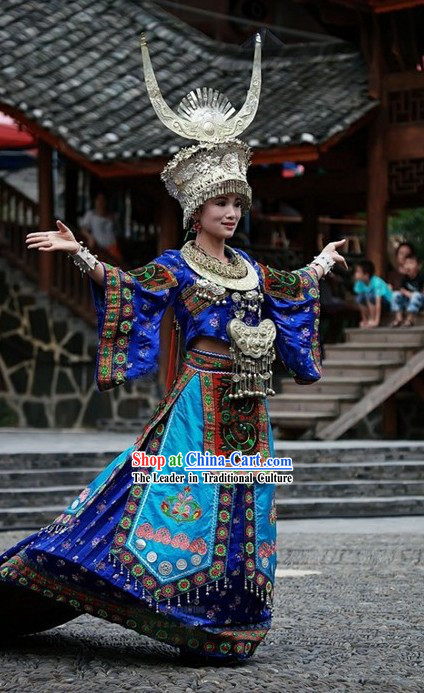 Chinese Traditional Minority Dance Costumes Set