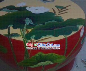 Traditional Chinese Hand Painted Lotus Drum