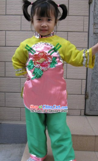 Traditional Chinese Fan Dance Costumes for Children