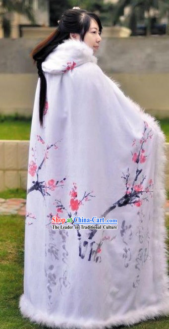 Ancient Chinese Hand Painted Cherry Blossom Winter Cape