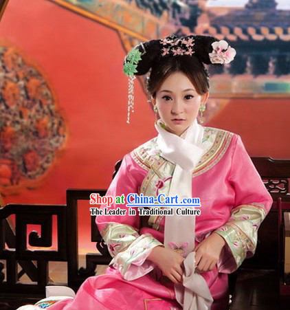 Ancient Chinese Qing Dynasty Princess Costume and Headwear