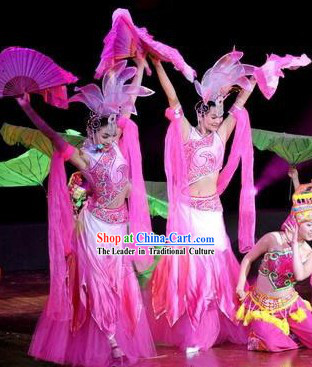 Traditional Chinese Lotus Dance Costume and Headpiece Complete Set