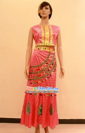 Traditional Dai Minority Ethnic Dance Costume for Women