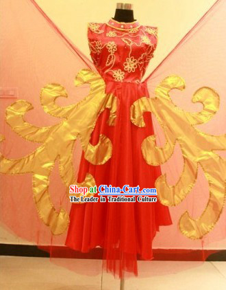 Traditional Chinese Red Classical Dance Costumes with Wings