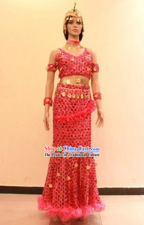 Traditional Dai Minority Ethnic Dance Costume and Headwear for Women