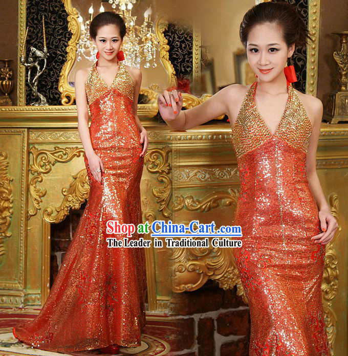 Traditional Chinese Wedding Evening Dress for Brides