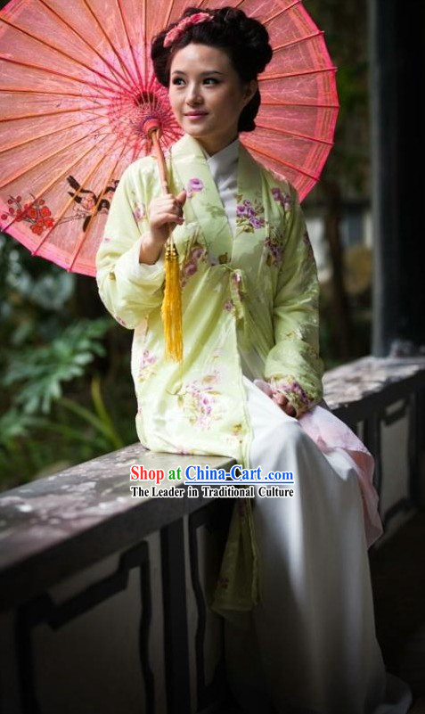 Traditional Chinese Women Flower Hanfu for Spring and Summer Wear