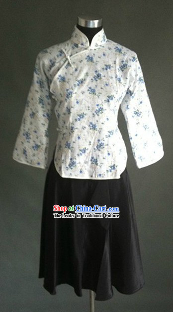 Traditional Chinese Minguo Time Old Shanghai Five Four Student Costume for Women