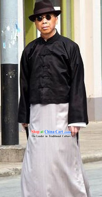 Minguo Time Old Shanghai Du Yuesheng Long Robe Costume and Hat