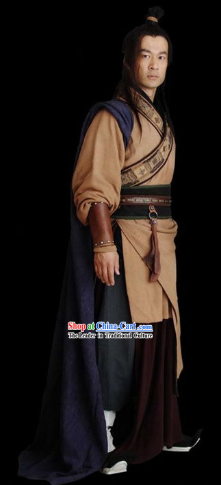 Ancient Chinese Qin Dynsaty Period Xiang Yu Hero Costumes Complete Set for Men