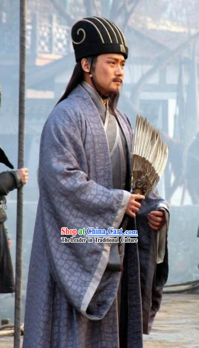 Three Kingdoms Zhuge Liang Costumes and Hat Complete Set for Men