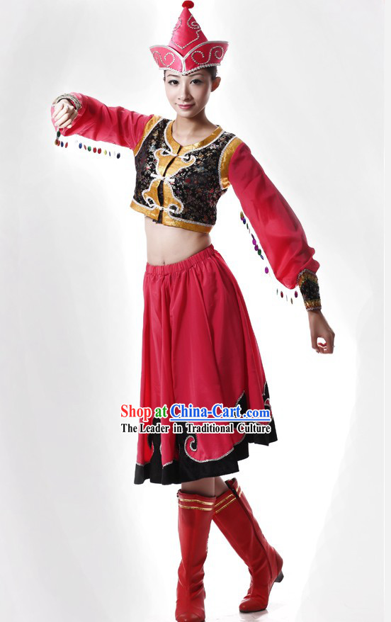 Mongolian Chopstick Dance Costume and Hat for Women