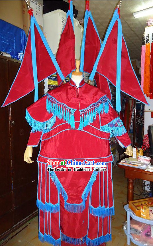 Beijing Opera Red Fighting Cao Costumes with Flags for Women