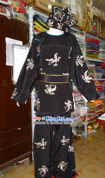 Black Beijing Opera Embroidered Costume and Hat for Men