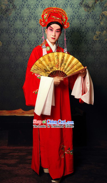 Chinese Beijing Opera Red Sheng Actor Costume and Hat