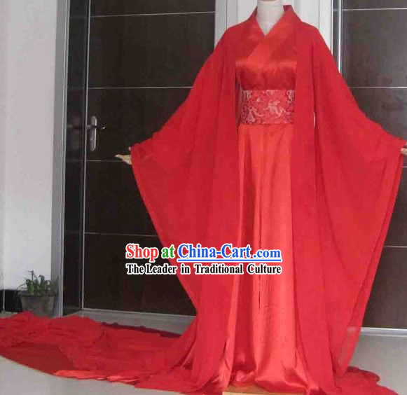 Five Meters Long Tail Red Wedding Clothing for Women