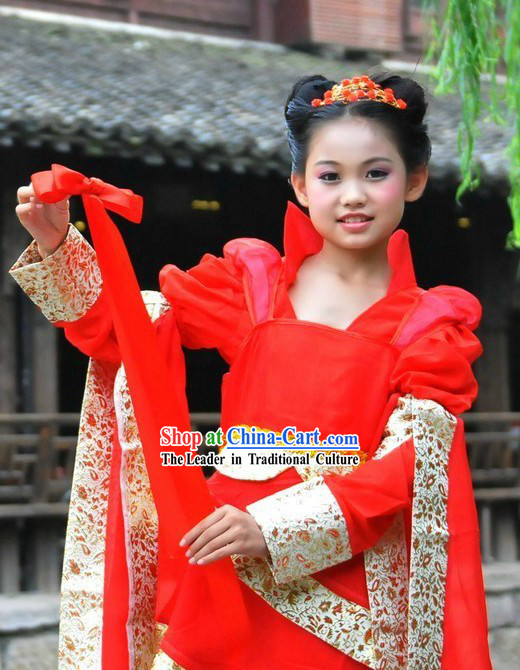 Ancient Chinese Red Fairy Costumes for Children
