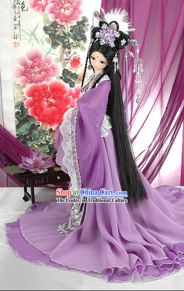Ancient Chinese Imperial Empress Purple Costumes, Hair Accessoreis and Wig Complete Set