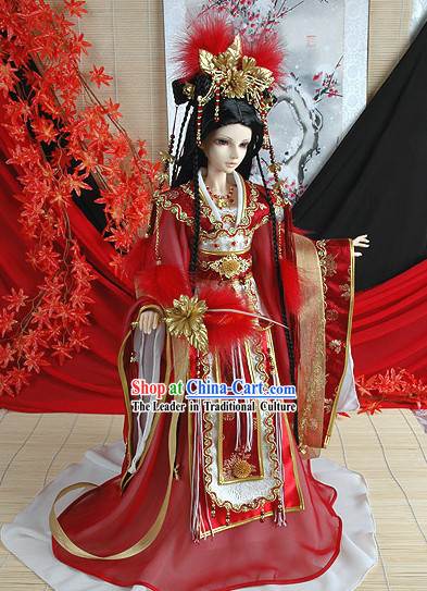 Ancient Chinese Imperial Princess Wedding Dress, Headwear and Long Wig