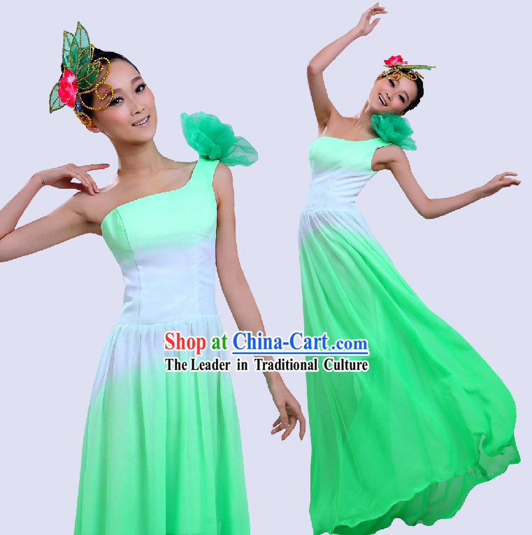 Chinese Color Transition Green Fan Folk Dancing Costume for Women