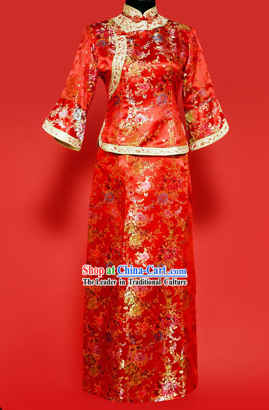 Traditional Chinese Red Wedding Suit for Brides