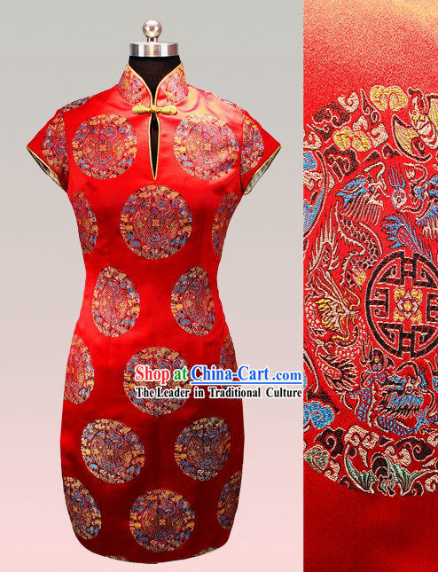 Traditional Chinese Red Silk Tang Skirt for Women