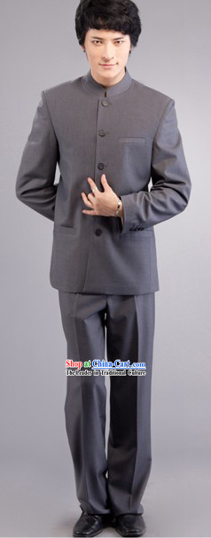 Traditional Chinese Grey Ceremonial Tunic Suit for Men