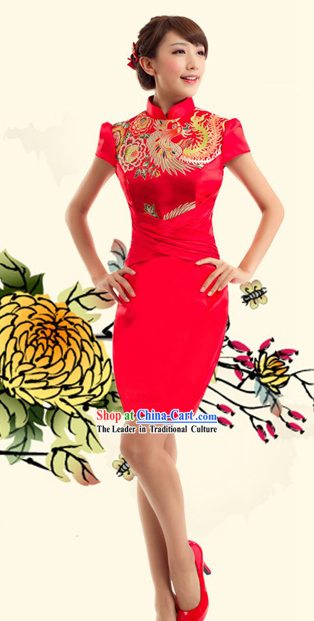 Traditional Chinese Phoenix Wedding Qipao for Women