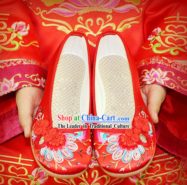 Chinese Classical Embroidered Peacock Wedding Shoes for Brides