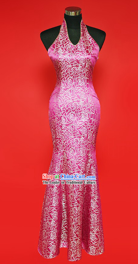 Chinese Classic Happy Flower Wedding Cheongsam Evening Dress for Brides