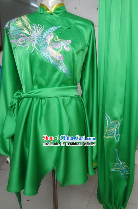 Classic Green Embroidered Phoenix Silk Martial Arts Uniform