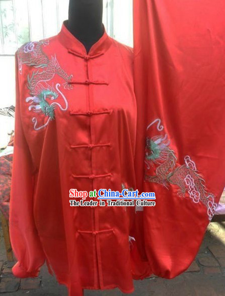 Red Silk Dragon Kung Fu Uniform for Men