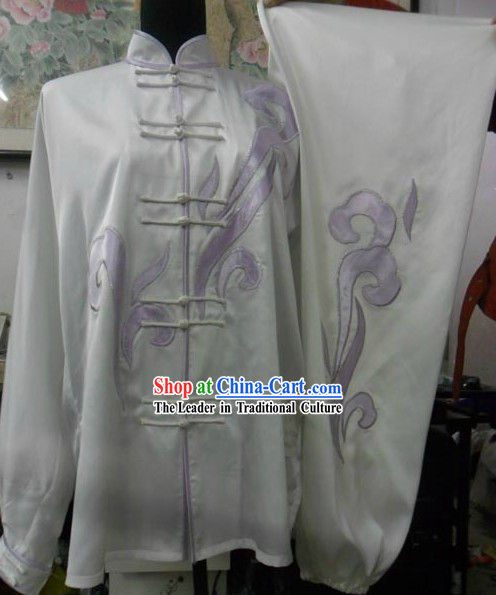 White Silk Cloud Kung Fu Dress for Women
