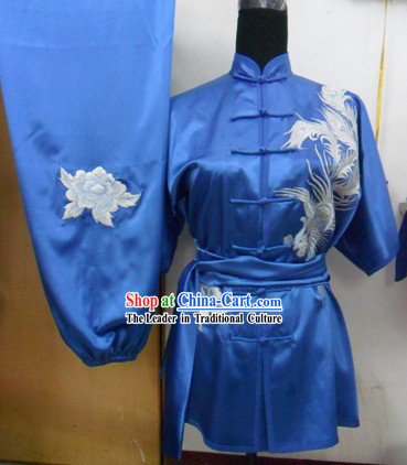Blue Silk Phoenix Wu Shu Costumes Complete Set for Women