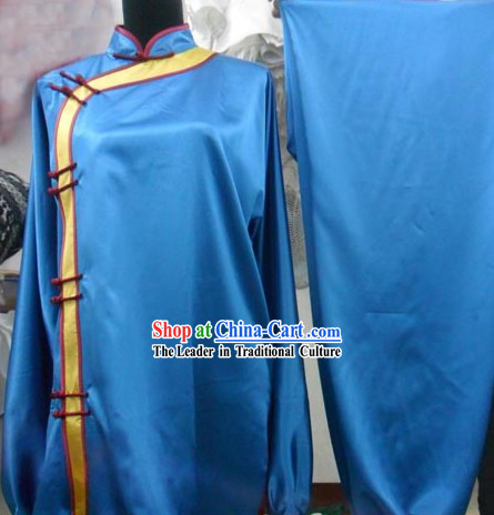 Blue Silk Mandarin Kung Fu Tournament Uniform for Women