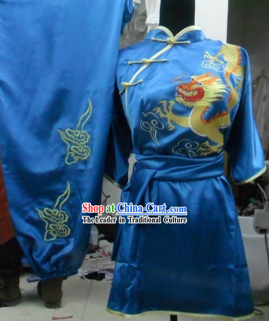 Blue Dragon Silk Womens Tai Chi Clothes
