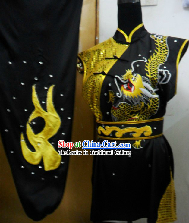 Black and Gold Dragon Competition Wushu Silk Uniform